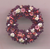 Purple dried flower wreath