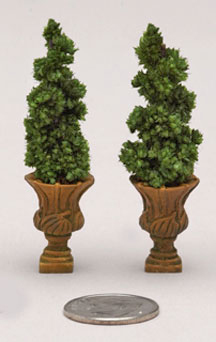 Mantle-sized spiral topiaries