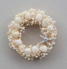 White and silver seashell wreath